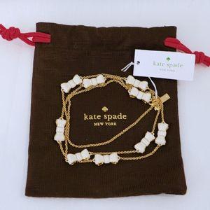 KATE SPADE~take a bow~WHITE & GOLD LONG NECKLACE
